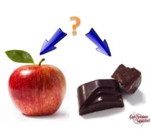 Pomme ou chocolat noir