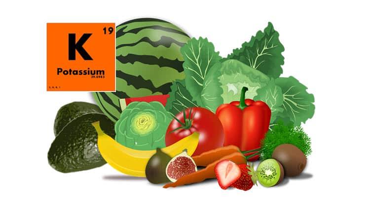 Aliments sur fond blanc avec le signe chimique du potassium (K) sur fond orange