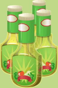 Image de type vectorielle de 4 bouteilles de vinaigrette commerciales.