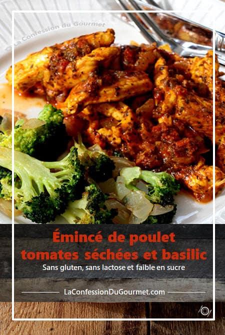 Émincé de poulet au tomates séchées dans une assiette blanche avec brocolis