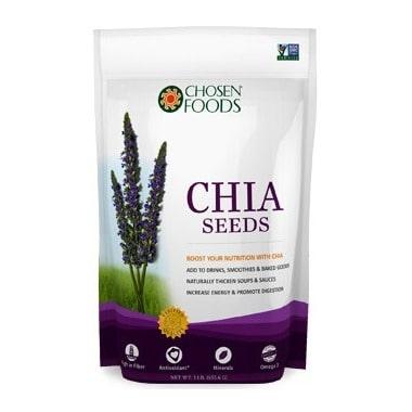 Sac de graines de chia de la compagnie Chosen Foods, lien affilié amenant vers la boutique canadienne en ligne Well.ca