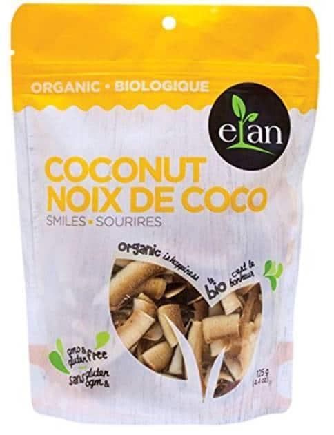 Photo d'un sac de sourires de noix de coco de la compagnie Elan dans l'article de graine de chia recette au chocolat.