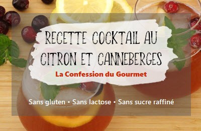 Titre et photo de la recette de cocktail au citron et canneberges