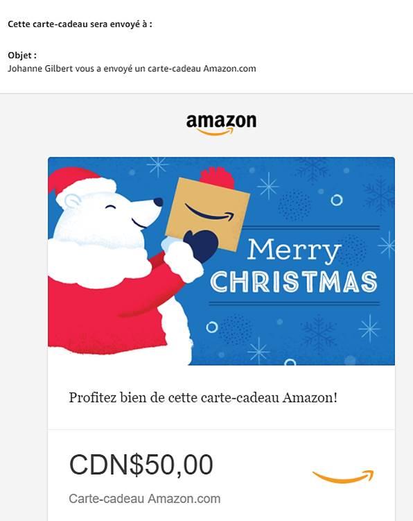 Carte cadeau egift amazon cadeau dernière minute.
