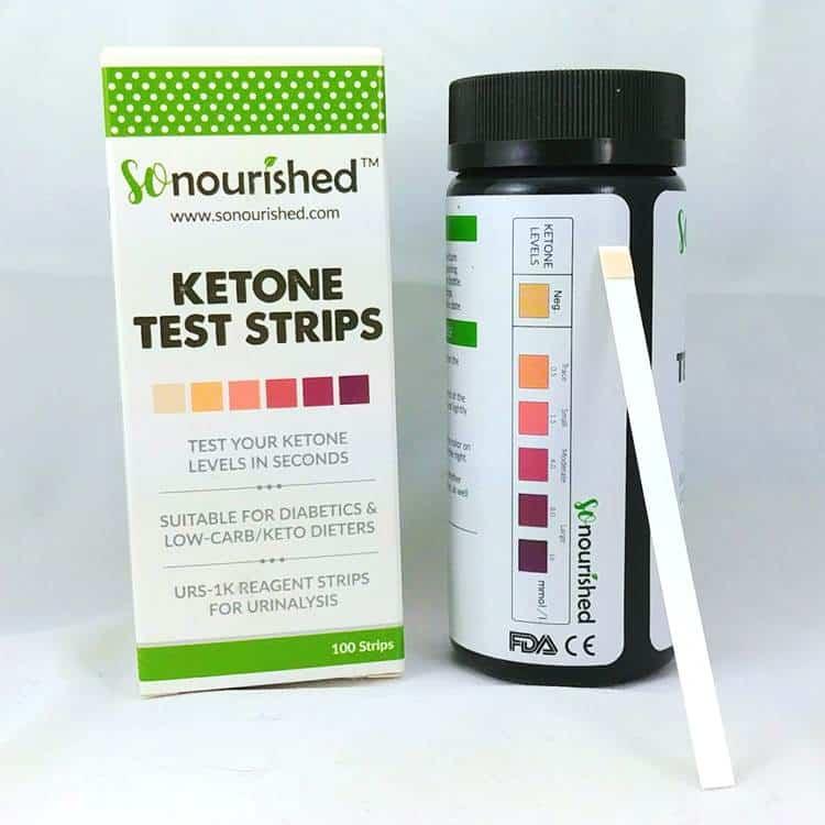 Petites bandelettes pour tester les corps cétoniques par l'urine, pot de 100 unités sur Amazon.
