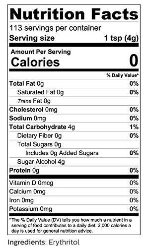 tableau des valeurs nutritives du produit érythritol.