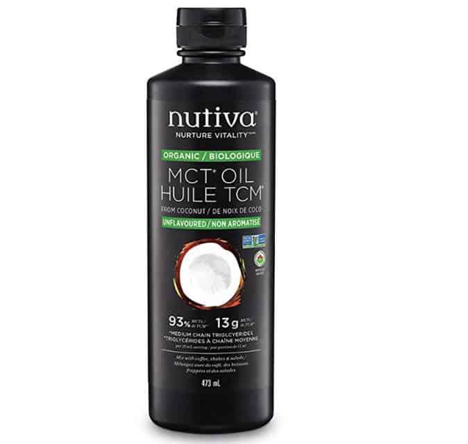 Photo d'une bouteille d'huile de TCM de la compagnie Nutiva, biologique, sans OGM et sans gluten.