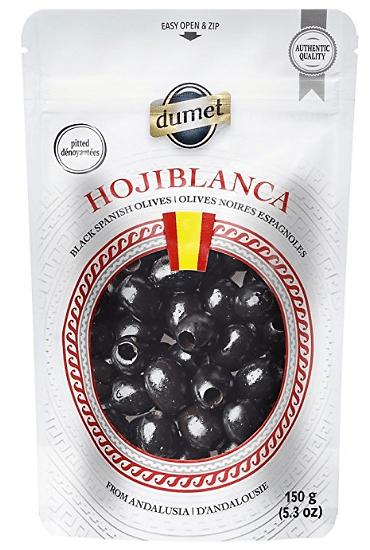 Sac d'olives noires de la compagnie Dumet, 150 grammes.