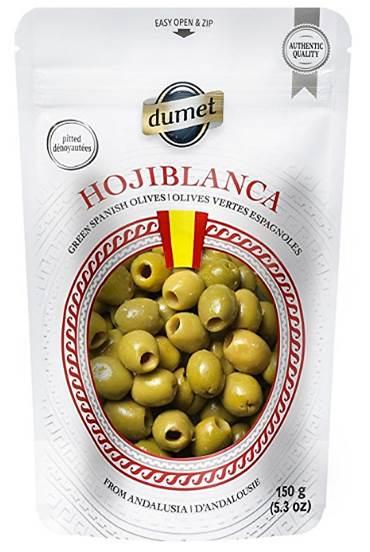 Sac d'olives vertes de la compagnie Dumet, 150 grammes.