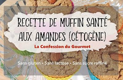 Page titre de muffins santé aux amandes cétogènes, recette contenant un des aliments riches en fibres, le psyllium