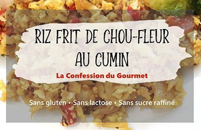 Photo du titre de l'article qui est riz frit de chou-fleur au cumin, sans gluten, sans lactose et sans sucre raffiné