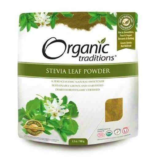 Sac de stevia en poudre verte de la marque Organic Traditions (lien affilié)