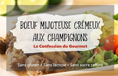 """Photo titre de l'article """"boeuf mijoteuse crémeux aux champignons"""" sans gluten, sans lactose et sans sucre raffiné"""