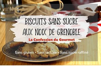Page titre de biscuits sans sucre aux noix de Grenoble, recette contenant un des aliments riches en fibres, le psyllium