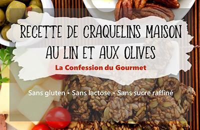 Page titre de craquelins maison aux olives et aux graines, recette contenant un des aliments riches en fibres, le psyllium