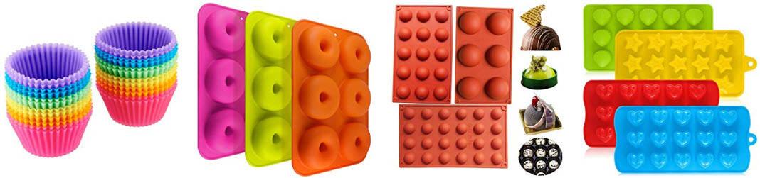 Différents modèles de moules en silicone très colorés avec lien pour magasinez sur Amazon Canada et France