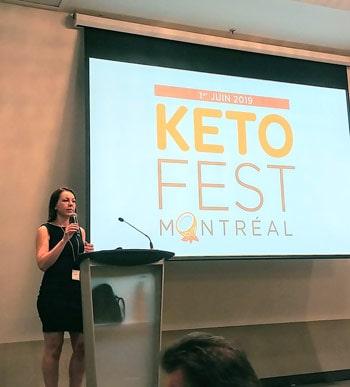Dr. Evelyne Bourdua-Roy sur la scène en ouverture du salon Kéto Fest de Montréal 2019
