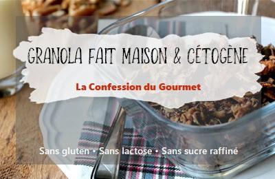 Page titre de la recette granola fait maison contenant un des aliments riches en fibres, le psyllium