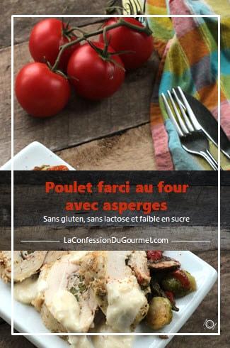 Assiette blanche rectangulaire avec le poulet farçi sur planche de bois et tomates