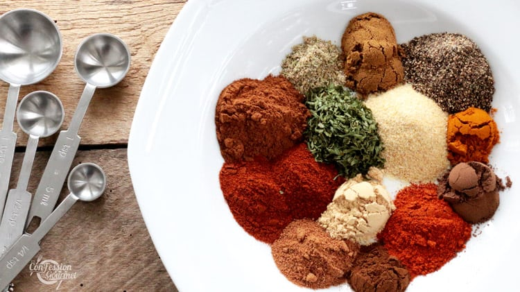 Assiette blanche contenant toutes les épices en petites buttes pour cuisiner le mélange d'épices chawarma