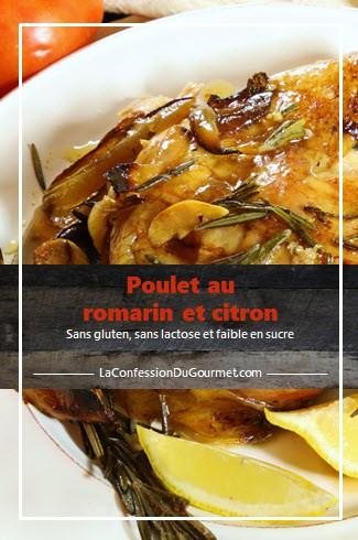 Cuisse de poulet cuit au romarin et au citron dans une assiette blanche vue de près