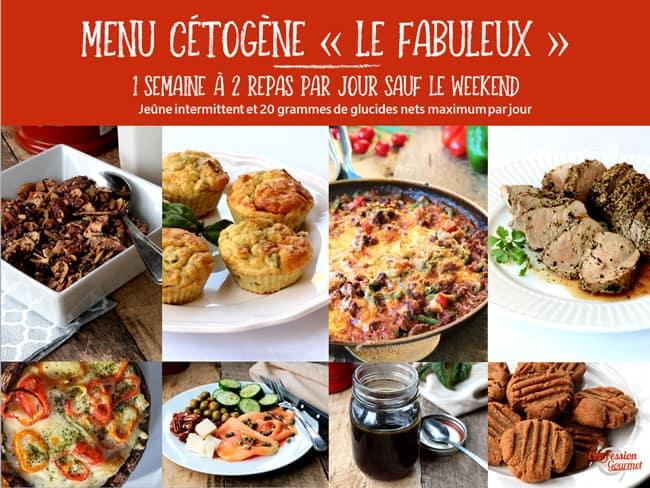 Page couverture d'un des menus cétogènes offerts, le Fabuleux avec images de quelques recettes