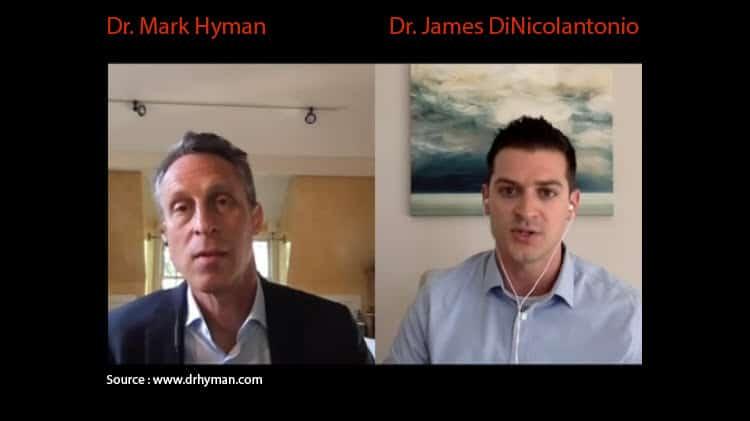 Dr. Mark Hyman et Dr. James DiNicolantonio durant leur entrevue vidéo (source : www.drhyman.com)