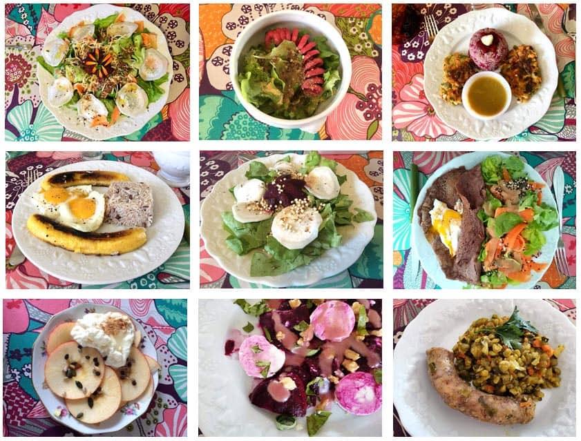 Mosaïque des différents plats cuisinés par Michèle