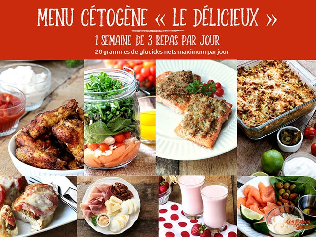 Page couverture d'un des menus cétogènes offerts, le Délicieux avec images de quelques recettes