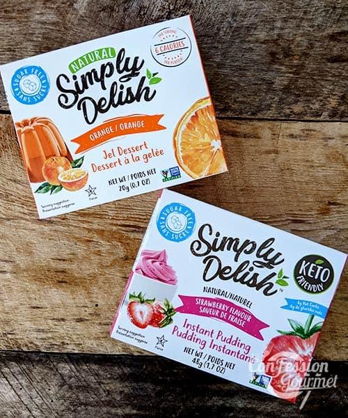 Assortiment d'emballages de dessert gelée et pouding sans sucre