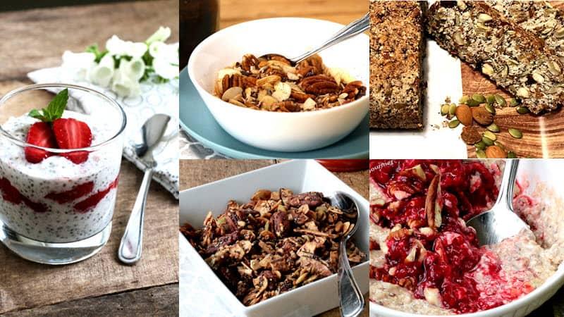 photo regroupée des 5 recettes pour déjeuner cétogène végane