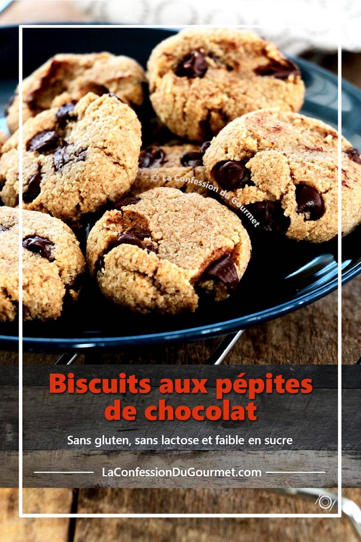 Biscuits aux brisures de chocolat en format pour partager sur Pinterest