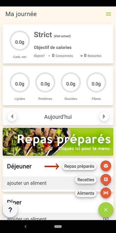 Capture d'écran de l'application démontrant où cliquer pour les repas préparés