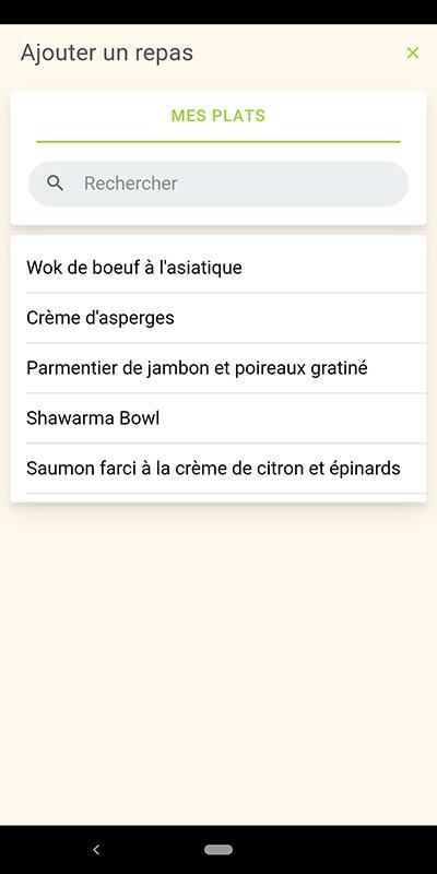 Capture d'écran démontrant la liste des repas préparés dans l'application