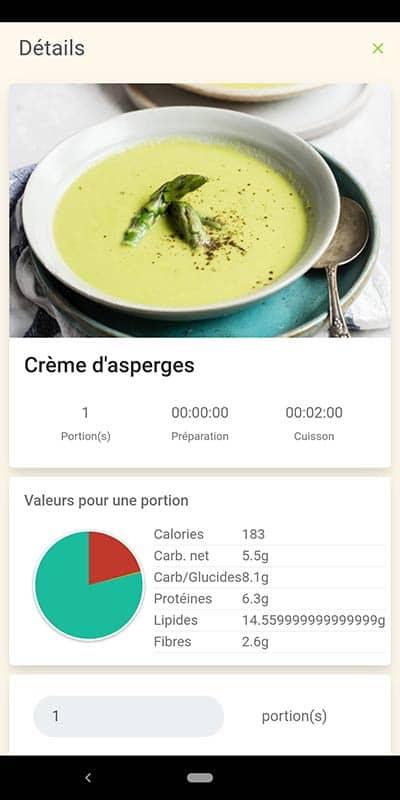 Capture d'écran démontrant un repas cétogène et ses macros dans l'application
