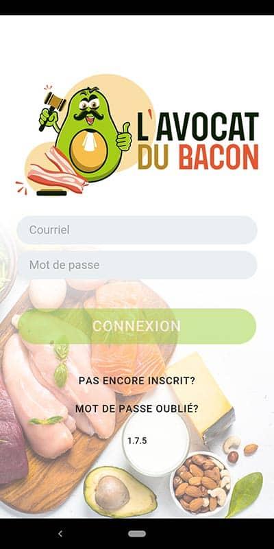 Capture d'écran de la page d'accueil de l'application de l'Avocat du Bacon